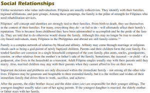 Collectivism in the Philippines : Family bond