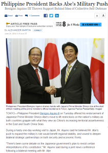 Philippine President Backs Abe's Military Push