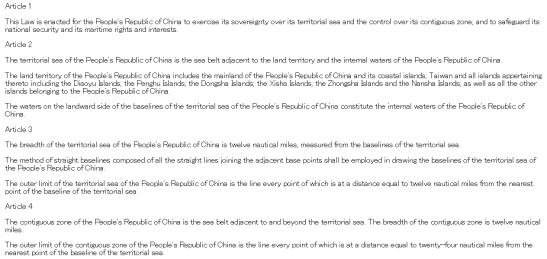 LAW OF THE PEOPLE'S REPUBLIC OF CHINA ON THE TERRITORIAL SEA AND THE CONTIGUOUS ZONE