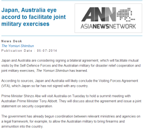 Japan, Australia eye accord to facilitate joint military exercises