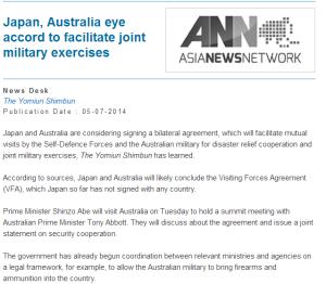 Japan, Australia eye accord to facilitate joint military exercises