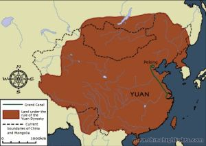 Yuan Dynasty map. The brown area shows the Yuan dynasty territory that occupies almost all of present-day China.