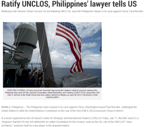 Ratify UNCLOS, Philippines' lawyer tells US