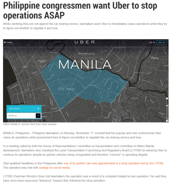 Why rude cab drivers are still plying the streets : Philippine congressmen want Uber to stop operations ASAP