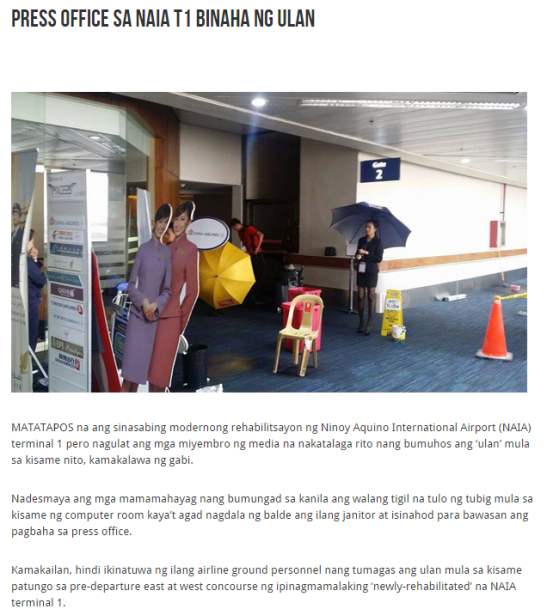 The Philippines on Rush :  Press Office sa NAIA T1 binaha ng ulan