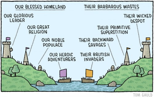 Proud to be not proud to be Pinoy. The Problem with Patriotism. By Lisa Wade. Image by Tom Gauld from <thesocietypages.org/ socimages/ 2015/ 04/ 12/ sunday- fun- the-problem-with-patriotism/ >
