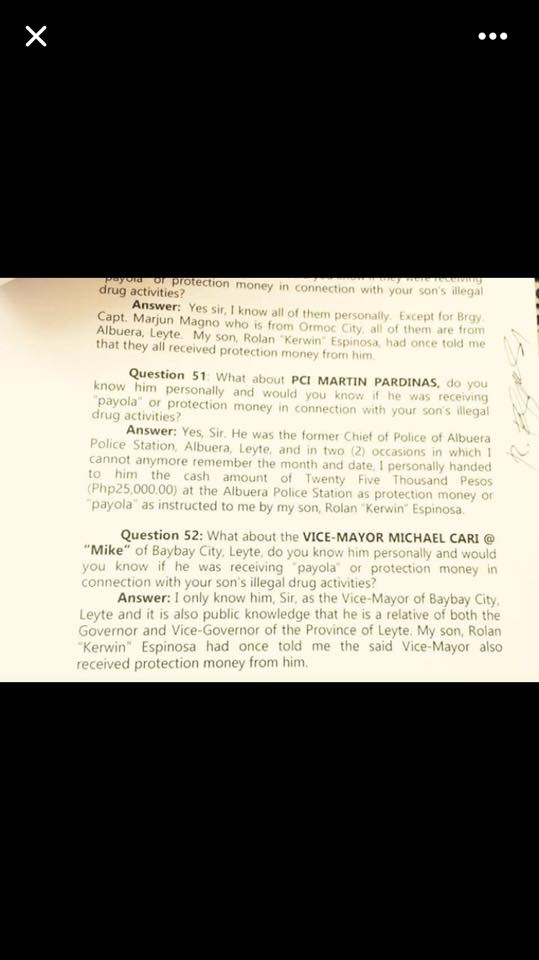 Who really killed Rolando Espinosa? A page of Mayor Espinosa's sworn affidavit