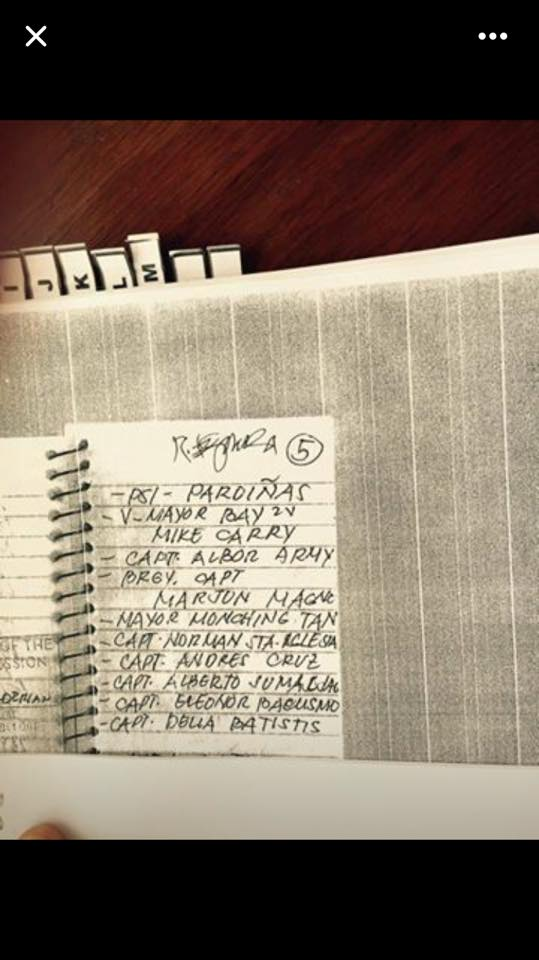 Who really killed Rolando Espinosa? A copy of Mayor Espinosa's notebook